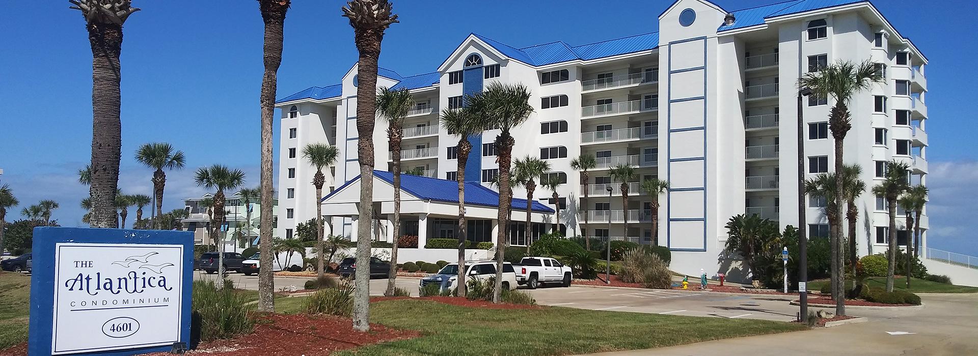 The front of the Atlantica Condominium building